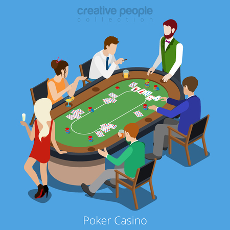 Isometric poker room concept. Player shuffler card play match stakes red dress sexy blond. Gamble gambling online casino app application conceptual. Creative people collection.
