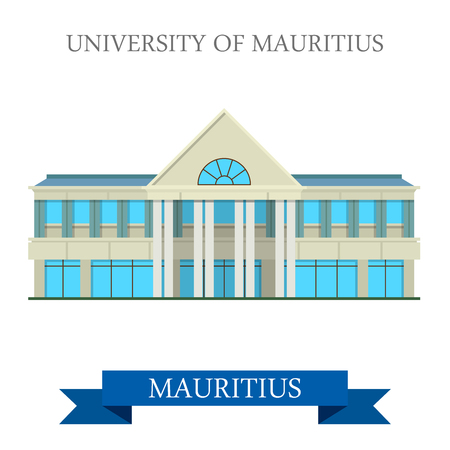 world heritage: University of Mauritius. Flat cartoon style historic sight showplace attraction web site vector illustration. World countries cities vacation travel sightseeing Africa island nation collection. Illustration