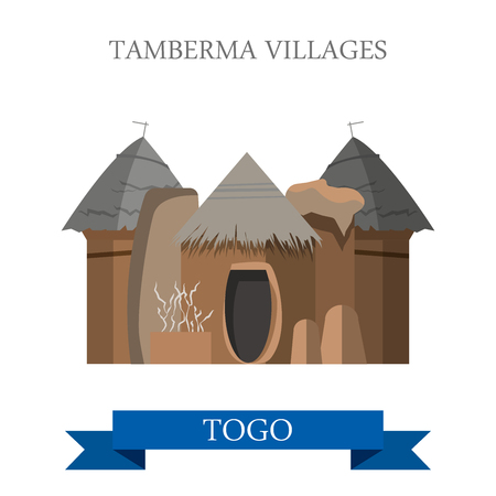 Tamberma Villages in Togo. Flat cartoon style historic sight showplace attraction web site vector illustration. World countries cities vacation travel sightseeing Africa collection.