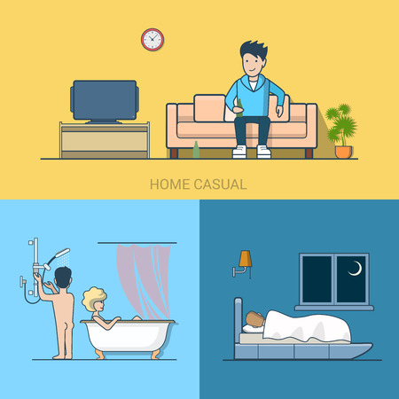 lifestyle home: Linear line art people leisure home casual tv beer bathroom bedroom sleep couple. Lifestyle concept flat icons set. Website click banner infographics design web elements vector illustration.