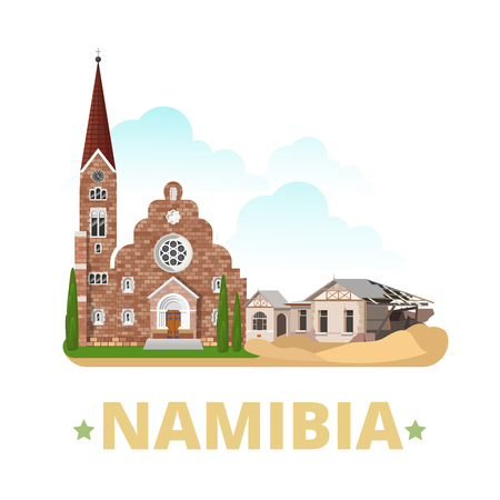 the country: Namibia country magnet design template. Flat cartoon style historic sight showplace web site vector illustration. World vacation travel Africa African collection. Kolmanskop Ghost Town Christ Church.