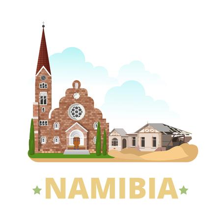 krajina: Namibie země magnet design šablony. Byt kreslený styl památka pozoruhodnost web vektorové ilustrace. Svět prázdniny jezdit Africa African kolekce. Kolmanskop Ghost Town Christ Church. Ilustrace