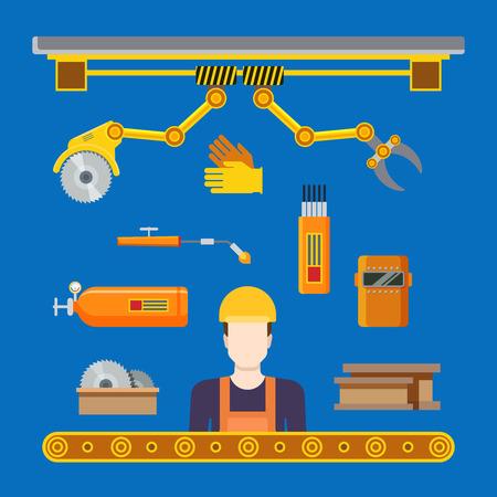 Maquinaria para la industria concepto de taller transportador de línea de producción pesada plana. Vector ilustración de robot trabajador robótica soldar equipos de soldadura de la máquina herramienta de fresado.