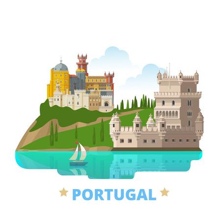 포르투갈 국가 자석 디자인 템플릿입니다. 플랫 만화 스타일의 역사적인 광경 showplace 웹 벡터 일러스트 레이 션. 유럽 유럽 수집 관광 세계 휴가  일러스트