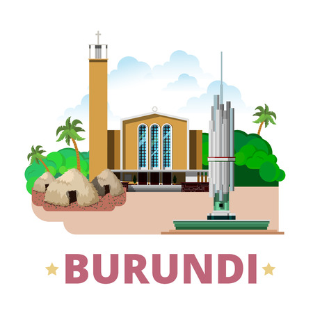 Burundi country flat cartoon style historic sight web site vector illustration. World vacation travel Africa African collection. Regina Mundi Cathedral Gishora Drum Sanctuary Monument National Unity.
