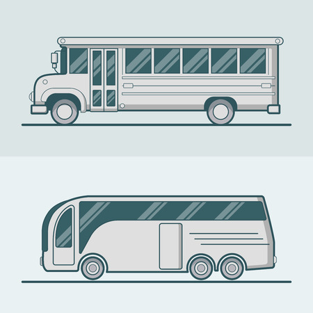 lineart: Bus school tourist intracity schoolbus lineart line art road transport set. Linear multicolor stroke outline flat style vector icons. Monochrome icon collection.