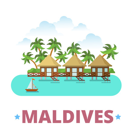 asia style: Maldives country badge fridge magnet design template. Flat cartoon style historic sight showplace web site vector illustration. World vacation travel sightseeing Asia Asian collection. Hotels on Water