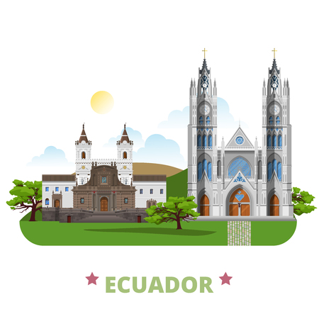 sightseeings: Ecuador country design template. Flat cartoon style historic sight web vector illustration. World vacation travel South America collection. Church and Monastery of St Francis Basilica of National Vow.