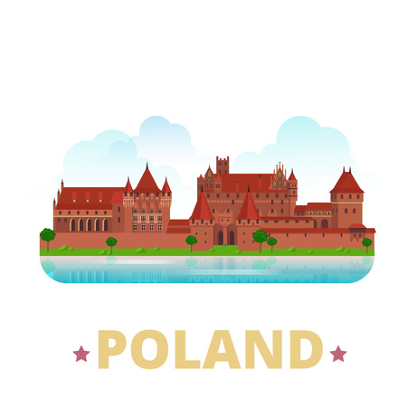 Poland country fridge magnet design template. Flat cartoon style historic sight showplace web site vector illustration. World vacation travel sightseeing Europe European collection. Malbork Castle.
