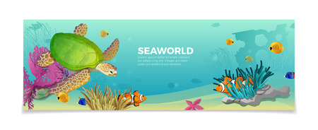 Sea world underwater life nature natural beauty template. Travel vacation agency web site flyer brochure vector illustration. Turtle ?lownfish anemonefish clown fish under water plant color background