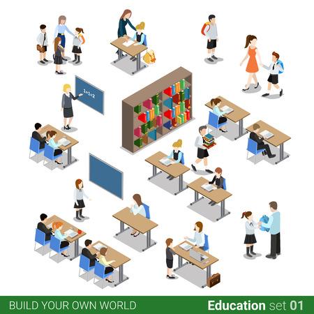 아이소 메트릭 플랫 3D 학교 건물 블록. 학생 어린이 학생 교사 사람들이 책상 라이브러리 클래스 아이콘을 설정합니다. 자신의 인포 그래픽 세계 컬렉 일러스트