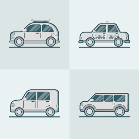 lineart: Passenger car van SUV taxi road lineart line art transport set. Linear stroke outline flat style vector icons. Passenger car van SUV taxi transportcolor icon collection.