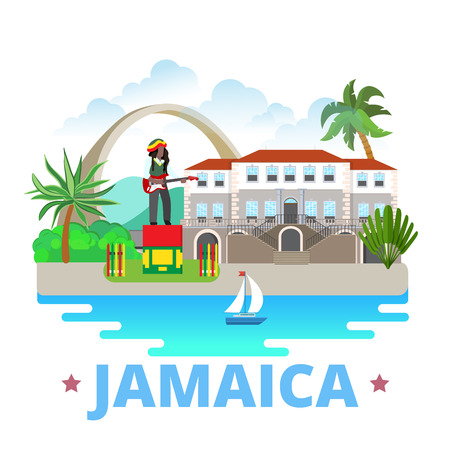 web site design template: Jamaica country badge fridge magnet design template. Flat cartoon style historic sight showplace web site vector illustration. World vacation travel sightseeing North America collection.