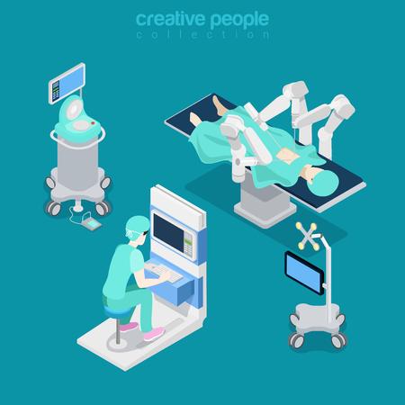 Robótica cirugía asistida por robot paciente moderna operador de equipo médico electrónico equipo médico del hospital. ilustración plana 3d estilo isométrica vector sitio web. personas colección creativa.