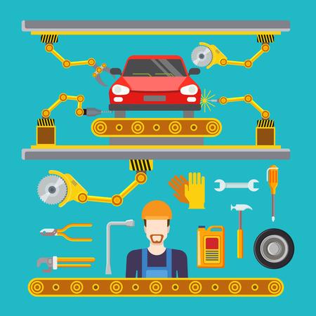 serviceman: Flat car repair fix service production line conveyor concept. Vector illustration serviceman robot robotics wrench hammer drill pedestal weld welding machine tool equipment fixer tyre wheel oil.