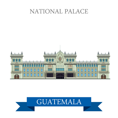 National Palace of Culture in Guatemala. Flat cartoon style historic sight showplace attraction web site vector illustration. World countries cities vacation travel sightseeing Amarica collection.