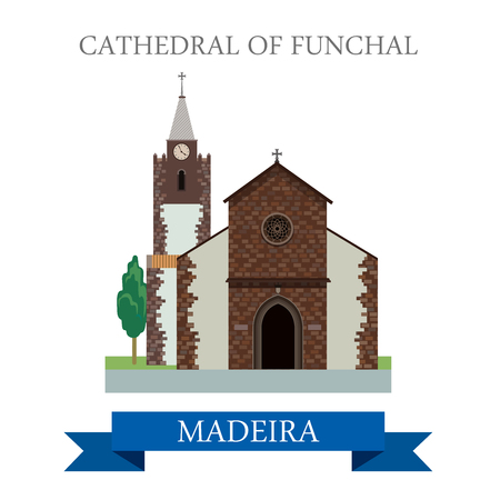 madeira: Cathedral of Funchal Madeira in Portugal. Flat cartoon style historic sight showplace attraction web site vector illustration. World countries cities vacation travel sightseeing Africa collection.