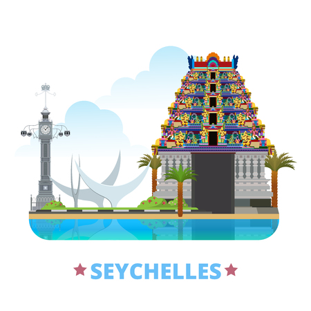 seychelles: Seychelles country design template. Flat cartoon style historic sight web site vector illustration. World travel sightseeing Africa African collection. Tempio Hindu Clock Tower Bicentennial Monument.