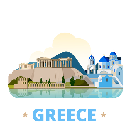 Grecia plantilla de diseño país. estilo de dibujos animados plana vista escaparate histórico ilustración vectorial web. vacaciones Viajes Europa colección europea. Santorini islas del mar Egeo Acrópolis de Atenas Ilustración de vector