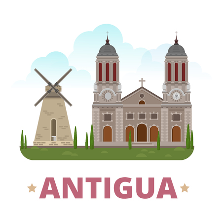 web site design template: Antigua country design template. Flat cartoon style historic sight showplace web site vector illustration. World vacation travel sightseeing North America collection. Fig Tree Drive St John Cathedral.