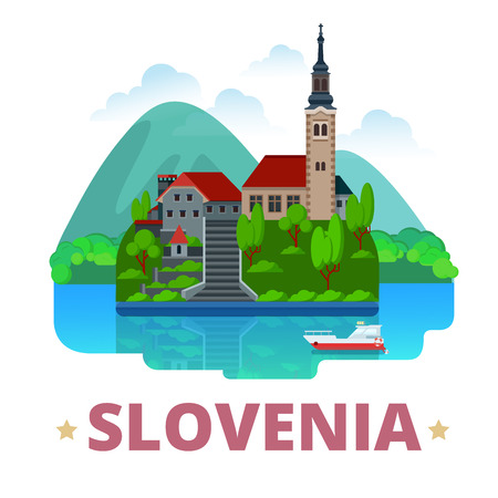 sightseeings: Slovenia country  fridge magnet design template. Flat cartoon style historic sight showplace web site vector illustration. World vacation travel sightseeing Europe European collection. Lake Bled. Illustration
