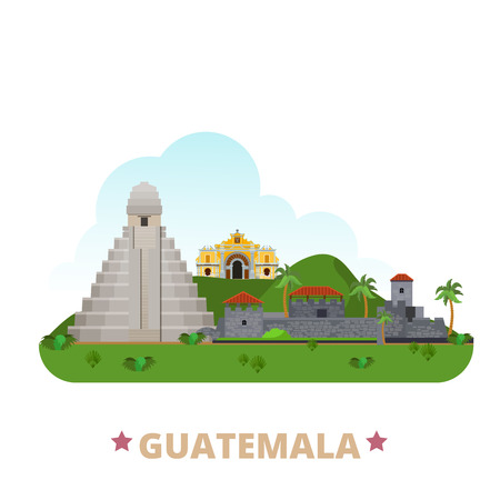 Guatemala country flat cartoon style historic sight showplace web site vector illustration. World vacation travel America collection. La Merced Church Antigua Tikal Temple Castillo San Felipe Lara. Ilustração