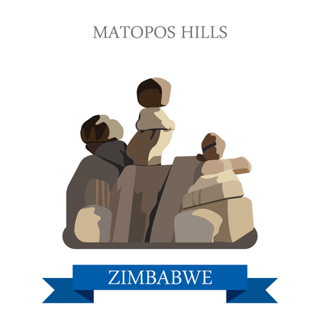 historic: Matopos Hills in Zimbabwe. Flat cartoon style historic sight showplace attraction web site vector illustration. World countries cities vacation travel sightseeing Africa collection.