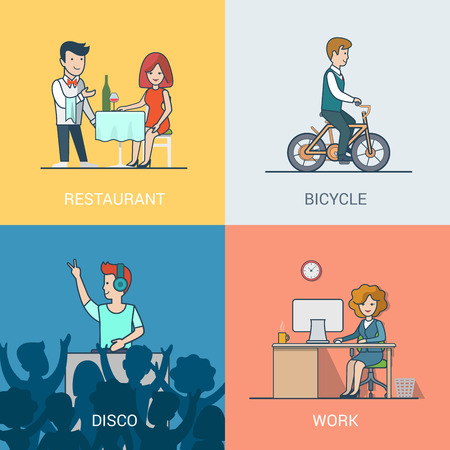 clubbing: Lifestyle concept linear flat icons set. People leisure holiday restaurant waiter bicycle riding disco music DJ clubbing work. Website click banner infographics design web elements vector illustration