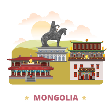 Mongolia country flat cartoon style historic sight web vector illustration. World travel sightseeing Asia. Amarbayasgalant Buddhist Monastery Gandantegchinlen Monastery Genghis Khan Equestrian Statue Vettoriali