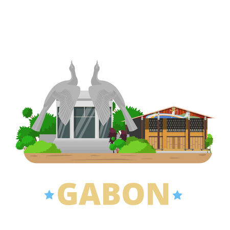 leon: Gabon country badge fridge magnet whimsical design template. Flat cartoon style historic sight showplace web site vector illustration. World vacation travel sightseeing Africa African collection. Eglise Saint-Michel de Nkembo Memorial Leon Mba in Librevil