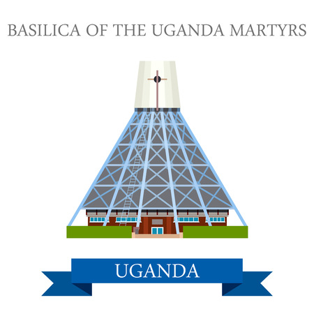 sightseeings: Basilica of the Uganda Martyrs. Flat cartoon style historic sight showplace attraction web site vector illustration. World countries cities vacation travel sightseeing Africa collection. Illustration