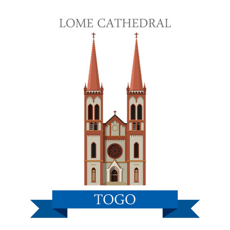 Lome Cathedral in Togo. Flat cartoon style historic sight showplace attraction web site vector illustration. World countries cities vacation travel sightseeing Africa collection.