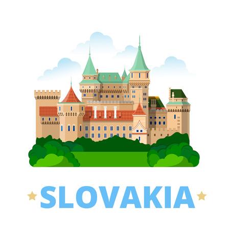 slovakian: Slovakia country fridge magnet design template. Flat cartoon style historic sight showplace web site vector illustration. World vacation travel sightseeing Europe European collection. Bojnice Castle Illustration