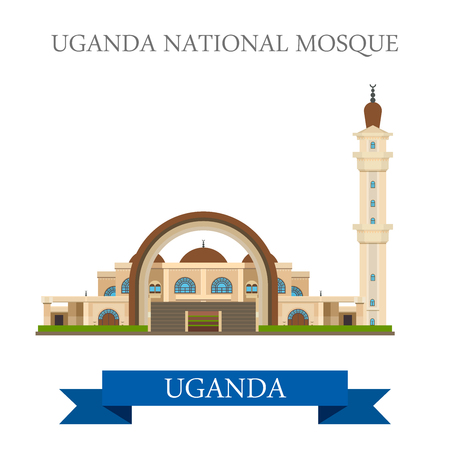 sightseeings: Uganda National Mosque. Flat cartoon style historic sight showplace attraction web site vector illustration. World countries cities vacation travel sightseeing Africa collection.