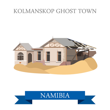 historic site: Kolmanskop Ghost Town in Namibia. Flat cartoon style historic sight showplace attraction web site vector illustration. World countries cities vacation travel sightseeing Africa collection.
