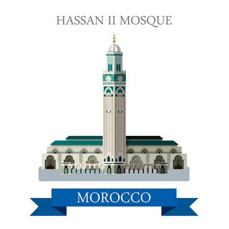 points of interest: Hassan II Mosque in Morocco. Flat cartoon style historic sight showplace attraction web site vector illustration. World countries cities vacation travel sightseeing Africa collection. Illustration