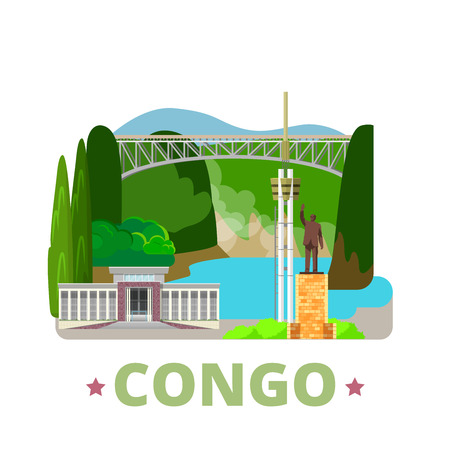 southern africa: Congo country design template. Flat cartoon style historic sight web site vector illustration. World vacation travel Africa collection. Livingstone Falls University Kinshasa Monument Patrice Lumumba.