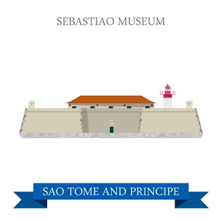 principe: Sebastiao Museo en Sao Tome y Principe. vista natural ilustración escaparate atracción vector sitio web de estilo plano de dibujos animados. país del mundo turismo vacaciones viajes colección isla africana África