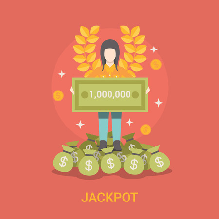 fortune concept: Lucky life concept vector illustration. Flat style Jackpot success web site banner image. Fortune money bag rich woman. Lotto coins dollars wreath lotto on red background.