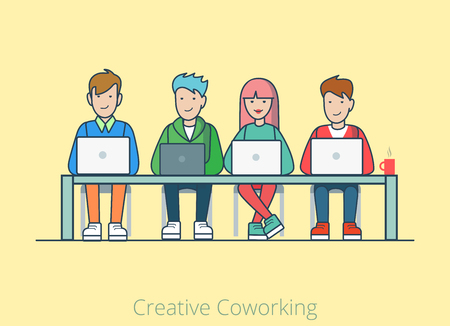 four people: Linear line art coworking flat web infographic concept vector. Co-working cartoon quartet four people table laptops. Office agency work process teamwork brainstorming. Creative people collection.
