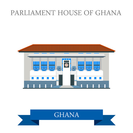 Parliament House of Ghana in Accra. Flat cartoon style historic sight showplace attraction web site vector illustration. World countries cities vacation travel sightseeing Africa collection.