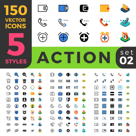 icons: 150 Action Settings ui icon set. Linear outline flat isometric 5 styles icons. Five style vector mobile app application software interface web site element sign symbol 2d 3d object collection.