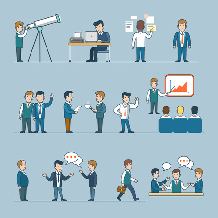 life style people: Office team life work coffee break report conversation. Linear flat line art style business people figures icons. Conceptual businesspeople vector illustration collection. Boss graphic laptop spyglass. Illustration
