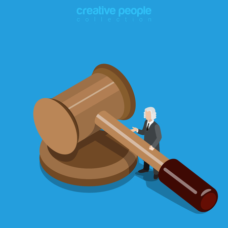 peruke: Isometric justice business concept. Micro man judge in periwig with huge hammer. Flat 3d isometry web site conceptual vector illustration. Creative people collection.