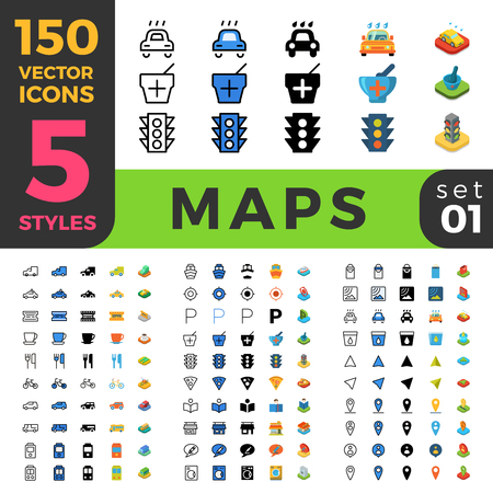 navigation object: 150 Maps Navigation GPS location marker POI ui icon set. Linear outline flat isometric 5 style icons. Vector mobile app application software interface web site element sign symbol 3d object collection Illustration