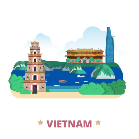 asia style: Vietnam country flat cartoon style historic place web vector illustration. World travel Asia collection. Bitexco Financial Tower City Imperial aka Complex Hue Monuments Ha Long Bay Thien Mu Pagoda. Illustration