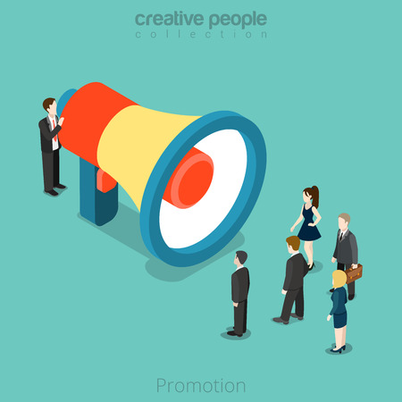 Isometric Promotion advertising business concept. Flat 3d isometry style web site vector illustration. Creative people collection. Man promoter huge megaphone crowed woman speaker phone speech. Illustration