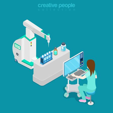 medical assistant: Isometric medical hospital computer electronic modern laboratory lab equipment assistant doctor operator. Flat 3d isometry style web site vector illustration. Creative people collection. Illustration