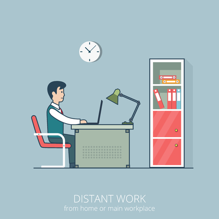 distant work: Linear flat line art style business distant work workplace office interior concept. Freelance man sitting at the table working laptop. Red shelf books room metal chair clock on grey wall folder lamp.