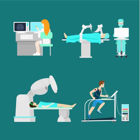 specialist: Modern treatment robotic robot-assisted brain body diagnostics surgery. Flat style hospital profession specialist concept vector people icon set patient doc nurse.